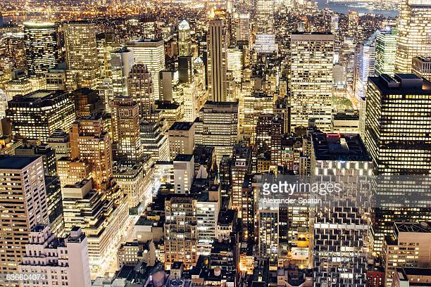 Illuminated skyscrapers of Manhattan at night, New York City, NY, USA