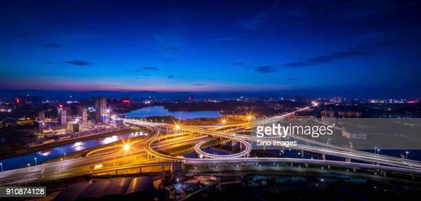 Illuminated spaghetti junction in nocturnal city,Nanchang, Jiangxi, China