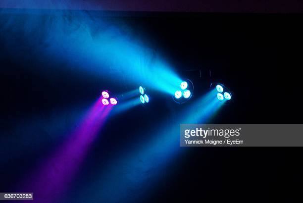illuminated stage lights at nightclub - stage light stock pictures, royalty-free photos & images
