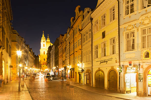 Illuminated Street In Old Prague Wall Art