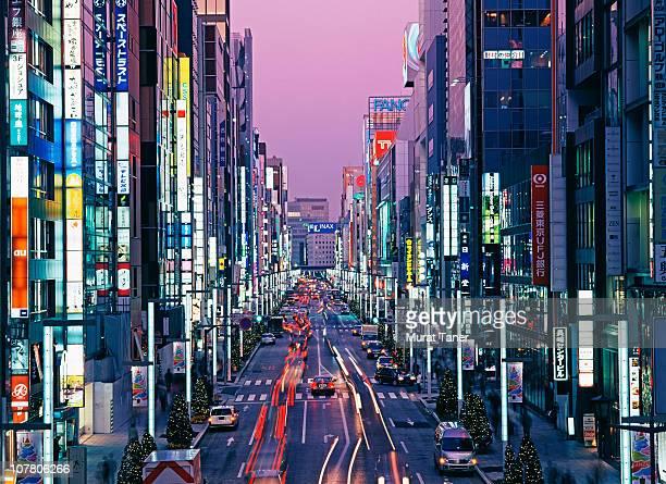 Illuminated street scene