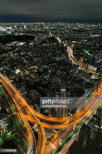 Illuminated Streets in Tokyo at Night from Above