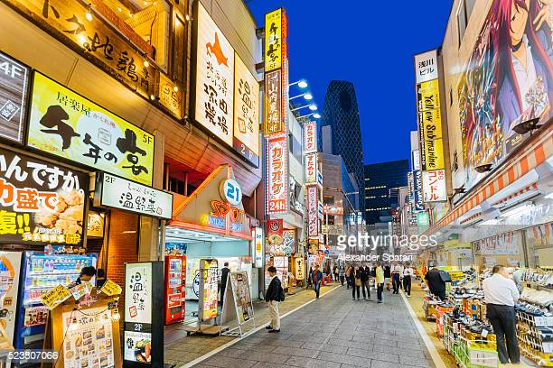 Illuminated streets of Shinjuku at night, Tokyo, Japan