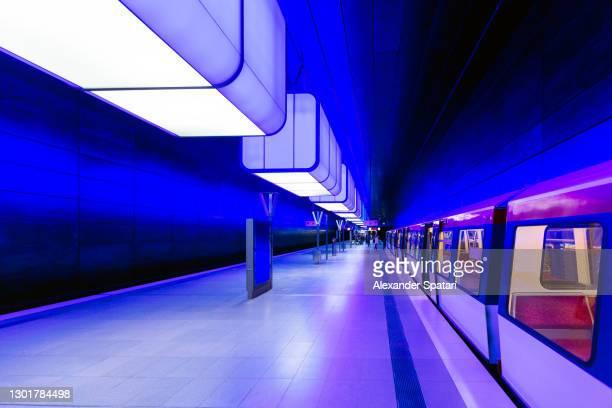 illuminated subway station in hamburg, germany - germany stock pictures, royalty-free photos & images
