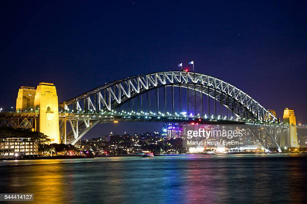 Illuminated Sydney Harbor Bridge At Dusk