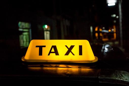Illuminated taxi cab signage, Habana, Cuba - gettyimageskorea