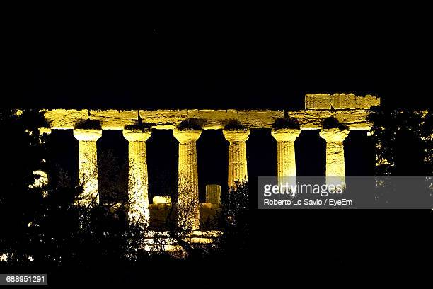 Illuminated Temple Of Juno Against Sky At Night