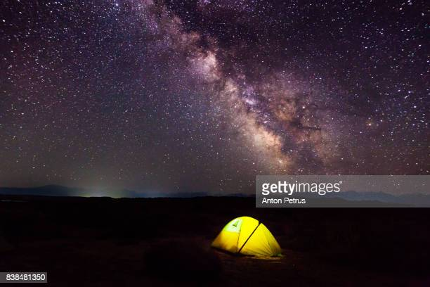 Illuminated tent against the starry sky