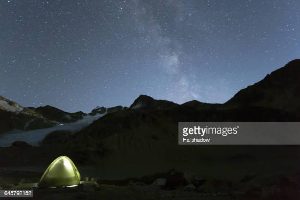 Illuminated tent under night sky