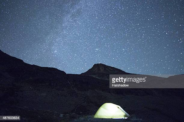 Illuminated Tent under star dotted night sky