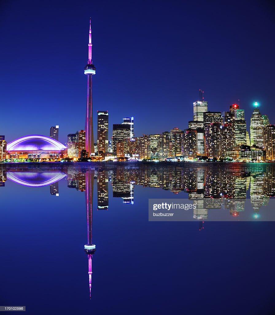Illuminated Toronto City with Reflection at Night : Stock Photo