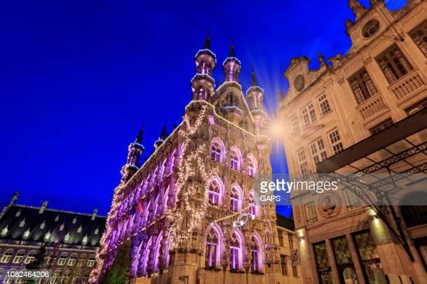 illuminated town hall of Leuven