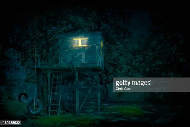 Illuminated treehouse in backyard at night