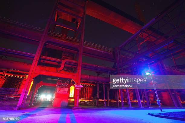 Illuminated tubes of coke oven Zollverein at night