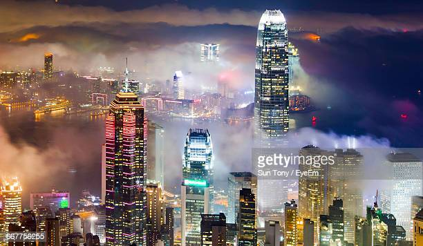 illuminated two international finance center and modern building at night - two international finance center stock pictures, royalty-free photos & images