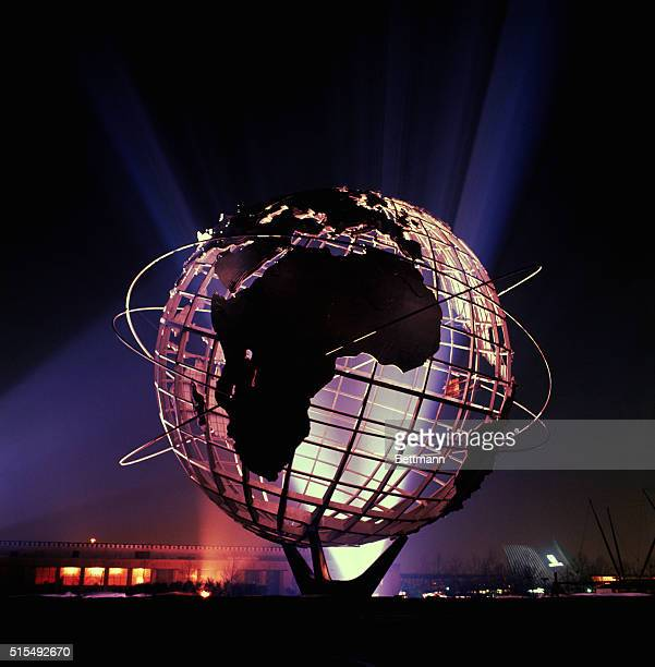 Illuminated United States Steel's Unisphere at the World's Fair