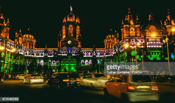 Illuminated Victoria Station During Independence Day At Night