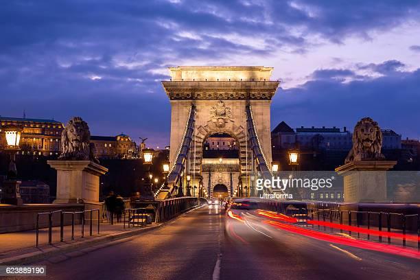 Illuminated view of Chain Bridge in Budapest at night