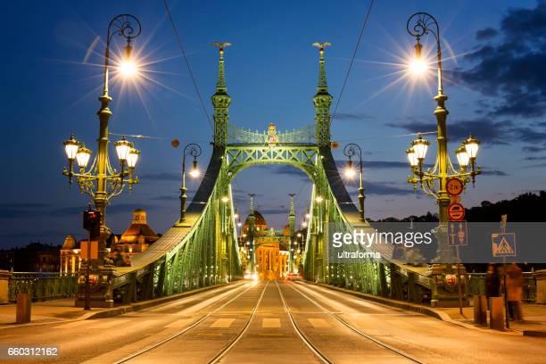 Illuminated view of Liberty Bridge in Budapest at night