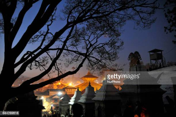 A illuminated view of Pashupatinath Temple during Eve of Maha Shivaratri Festival celebrated at Pashupatinath Temple Kathmandu Nepal on Thursday...