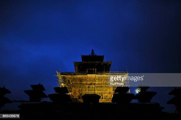 Illuminated view of Taleju Temple on the occasion of Navami ninth day of Dashain Festival at Basantapur Durbar Square Kathmandu Nepal on Friday...