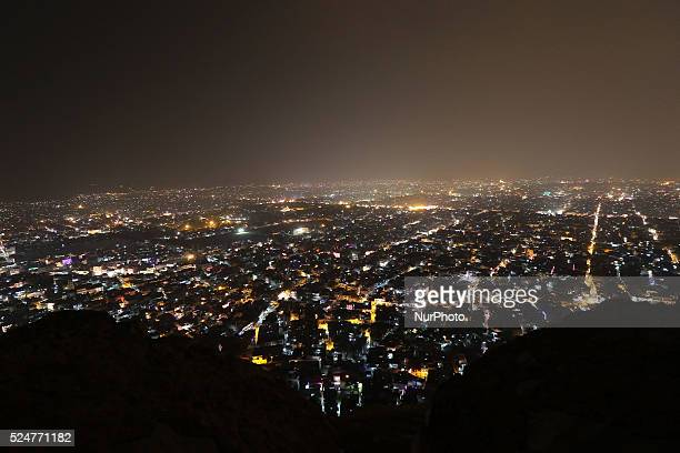 A Illuminated view of walled city 'Pinkcity' from the Nahargarh Fort situated on top of Aravalli hills on the occasion of Diwali Festival in Jaipur...