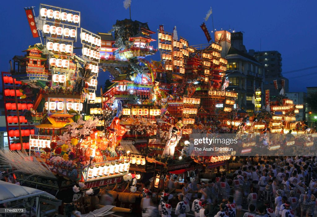 Illuminated 'Yamaboko' floats are gathered in front of Hita station during the 'Kaomise' displaying ahead of Hita Gion Festival on July 25, 2013 in Hita, Oita, Japan. The festival will take place on July 27 and 28,