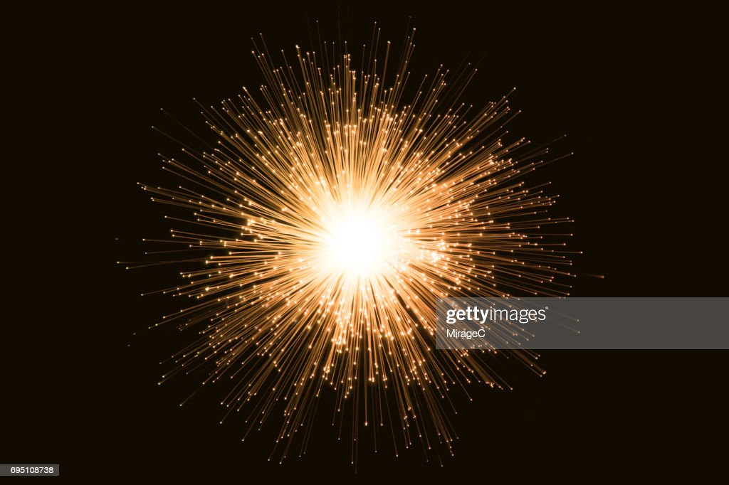 Illuminated Yellow Radial Shape Fiber Optic : Stock Photo
