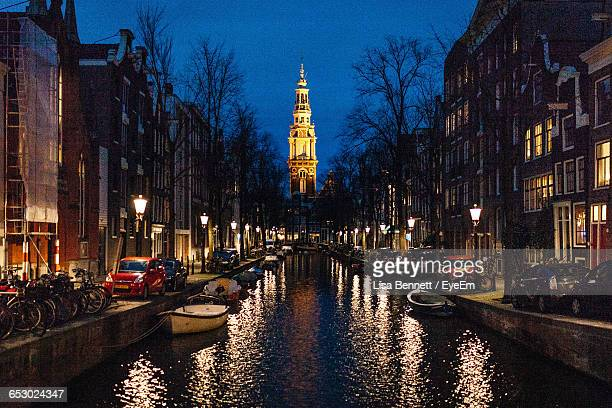 illuminated zuiderkerk in city - tower stock pictures, royalty-free photos & images