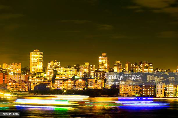 Illuminating apartmnets buildings at night, Kirribilli  Sydney Australia