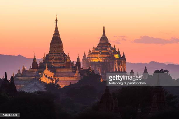 Illuminating temple in Bagan