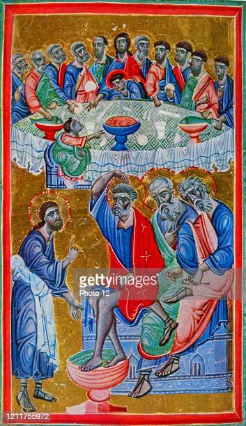 Illumination depicting the Last Supper and Washing of the Feet. Dated 13th Century.