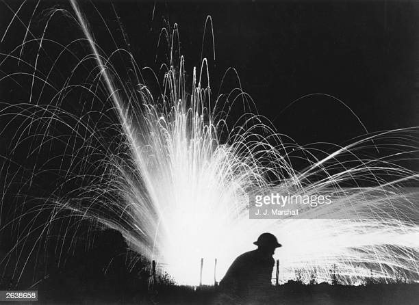 Illumination flares and shells in No Man's Land Gondrecount on the Western Front France