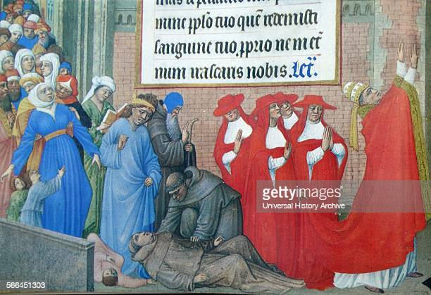 Illumination of Pope Gregory the Great leading a procession to pray for the cessation of the plague Cardinals monks a hermit and laymen follow him...