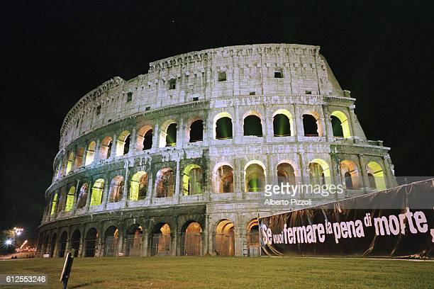 Illumination of the Coliseum for the new campaign to abolish capital punishment throughout the world