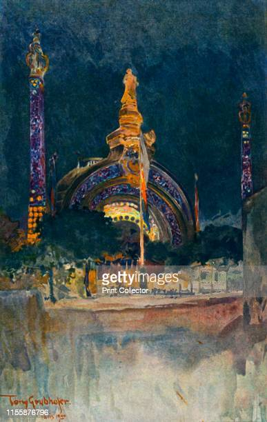 Illumination of the Main Entrance to the Paris Exhibition From a watercolour drawing by Tony Grubhofer' 1900 Rene Binets monumental gate on Place de...