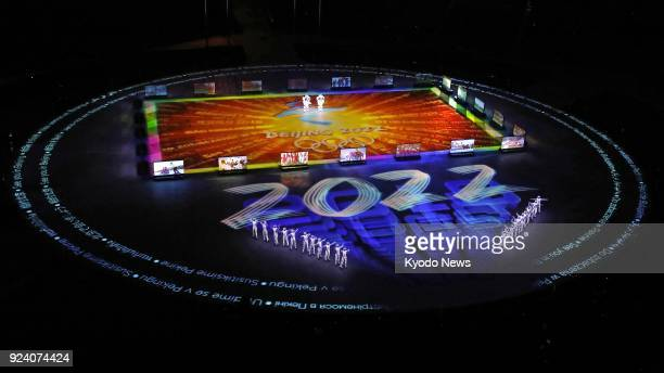 Illumination reads 2022 for the next Winter Olympics in Beijing during the closing ceremony of the Pyeongchang Olympics in South Korea on Feb 25 2018...