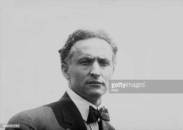Illusionist and escape artist Harry Houdini New York City 7th July 1912 That same day he performed his famous stunt in which he was submerged in the...