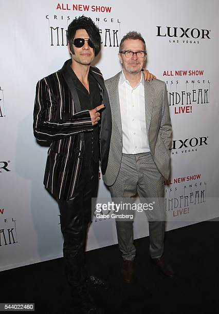 Illusionist Criss Angel and actor Gary Oldman attend the world premiere of 'Criss Angel Mindfreak Live' at the Luxor Hotel and Casino on June 30 2016...