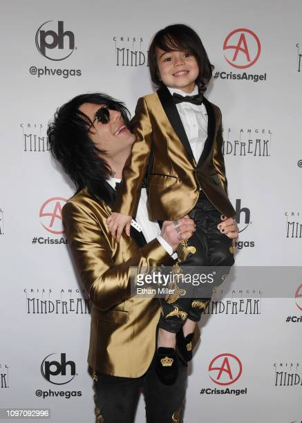 Illusionist Criss Angel and Johnny Crisstopher Sarantakos attend the grand opening of Criss Angel MINDFREAK at Planet Hollywood Resort Casino on...