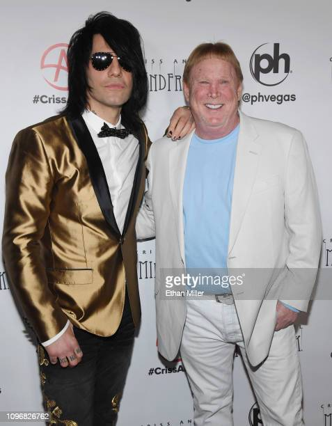 Illusionist Criss Angel and Oakland Raiders owner and managing general partner Mark Davis attend the grand opening of Criss Angel MINDFREAK at Planet...