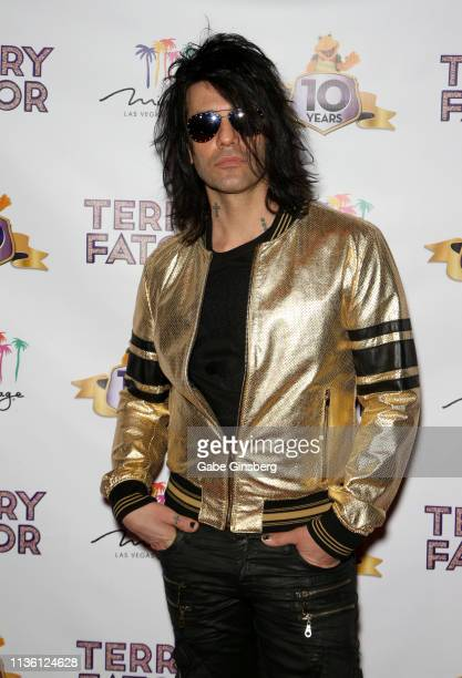 Illusionist Criss Angel attends Terry Fator's 10th anniversary show at The Mirage Hotel Casino on March 15 2019 in Las Vegas Nevada