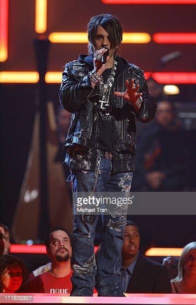 Illusionist Criss Angel speaks during Spike TV's 2007 'Video Game Awards' at the Mandalay Bay Events Center on December 7 2007 in Las Vegas Nevada