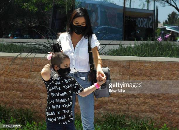 Illusionist Criss Angel's son Johnny Crisstopher Sarantakos and Shaunyl Benson come out to visit Angel as he helps to give out food and other items...