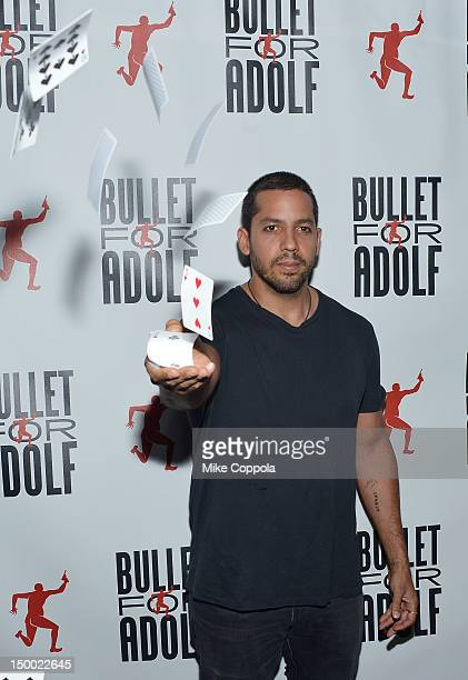 Illusionist David Blaine attends Bullet For Adolf Off Broadway Opening Night at New World Stages on August 8 2012 in New York City