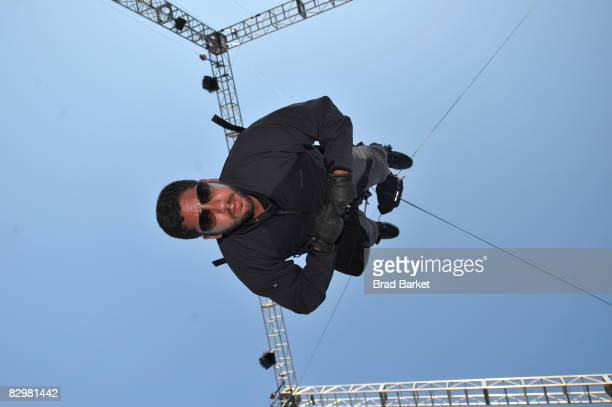 Illusionist David Blaine performs during 'The Upside Down Man' endurance challenge at Wollman Rink in Central Park on September 23 2008 in New York...
