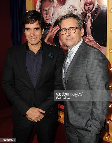 Illusionist David Copperfield and actor/producer Steve Carell attend the premiere of Warner Bros Pictures' 'The Incredible Burt Wonderstone' at TCL...