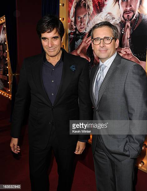 Illusionist David Copperfield and actor/producer Steve Carell attend the premiere of Warner Bros Pictures' The Incredible Burt Wonderstone at TCL...