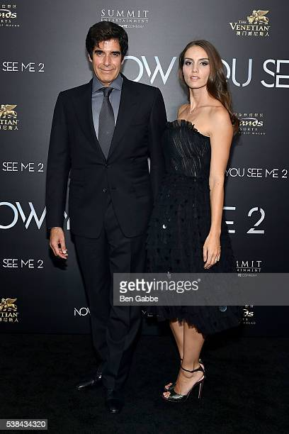 Illusionist David Copperfield and Chloe Gosselin attend the Now You See Me 2 World Premiere at AMC Loews Lincoln Square 13 theater on June 6 2016 in...