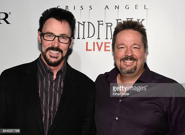 Illusionist Lance Burton and comic ventriloquist and impressionist Terry Fator attend the world premiere of Criss Angel Mindfreak Live at the Luxor...